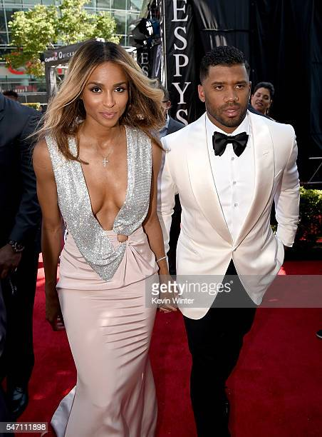 Recording artist Ciara and NFL player Russell Wilson attend the 2016 ESPYS at Microsoft Theater on July 13 2016 in Los Angeles California