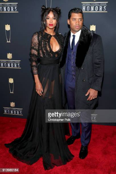 Recording Artist Ciara and NFL Player Russell Wilson attends the NFL Honors at University of Minnesota on February 3 2018 in Minneapolis Minnesota