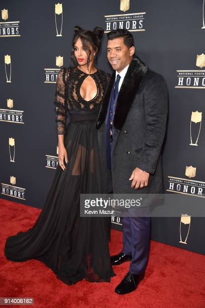 Recording Artist Ciara and Russell Wilson attend the NFL Honors at University of Minnesota on February 3 2018 in Minneapolis Minnesota