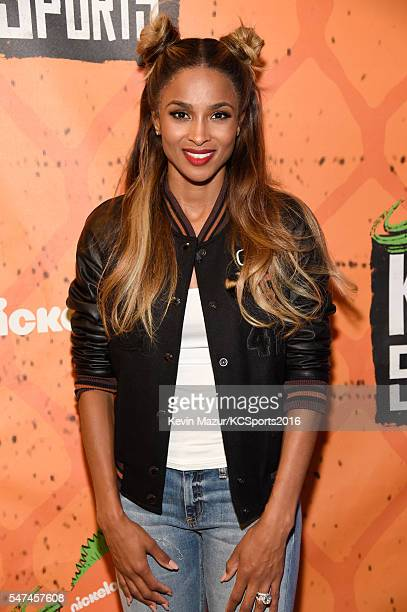 Recording artist Ciara poses backstage during the Nickelodeon Kids' Choice Sports Awards 2016 at UCLA's Pauley Pavilion on July 14 2016 in Westwood...