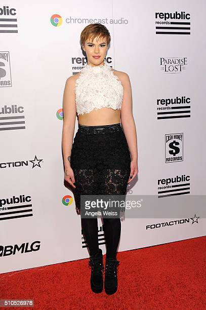 Recording artist Clarity attends the Republic Records Grammy Celebration presented by Chromecast Audio at Hyde Sunset Kitchen Cocktail on February 15...