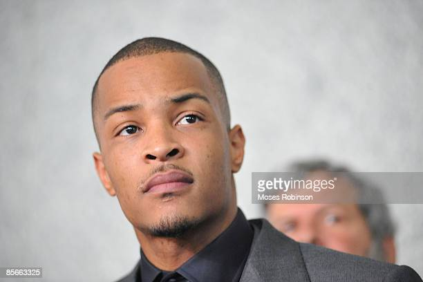 """Recording artist Clifford """"T.I."""" Harris address the media after his sentencing hearing at the Richard B. Russell Federal Building and United States..."""