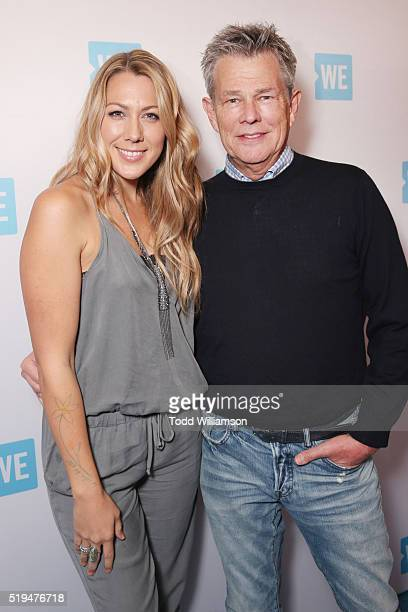 Recording artist Colbie Caillat and composer/music producer David Foster attend the WE Day Celebration Dinner at The Beverly Hilton Hotel on April 6...