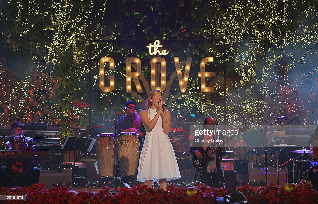 Recording artist Colbie Caillat performs at The Grove's 10th Annual Star Studded Holiday Tree Lighting Spectacular Presented By Citi at The Grove on November 11, 2012 in Los Angeles, California.