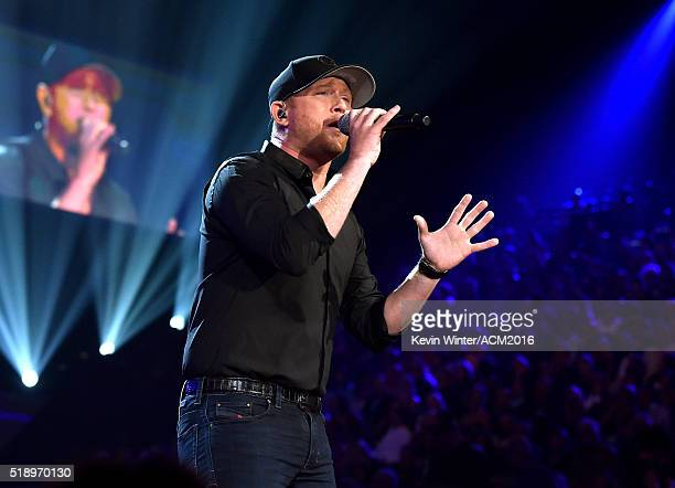 Recording artist Cole Swindell performs onstage during the 51st Academy of Country Music Awards at MGM Grand Garden Arena on April 3 2016 in Las...