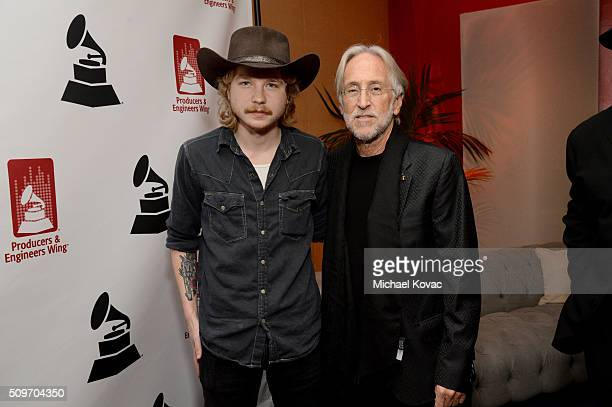 Recording artist Colter Wall and The Recording Academy CEO and President Neil Portnow pose during the PE Wing Event honoring Rick Rubin at The...