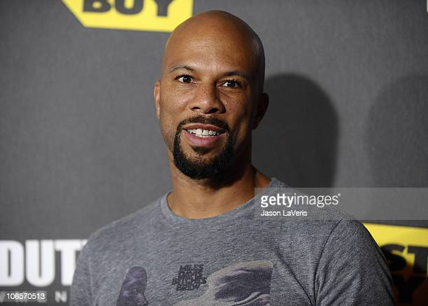 Recording artist Common attends Activision's Call of Duty Black Ops launch party at Barker Hangar on November 4 2010 in Santa Monica California