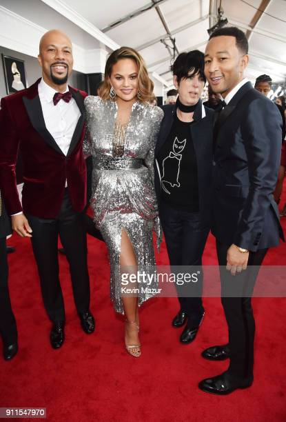 Recording artist Common TV personality Chrissy Tiegan songwriter Diane Warren and recording artist John Legend attend the 60th Annual GRAMMY Awards...