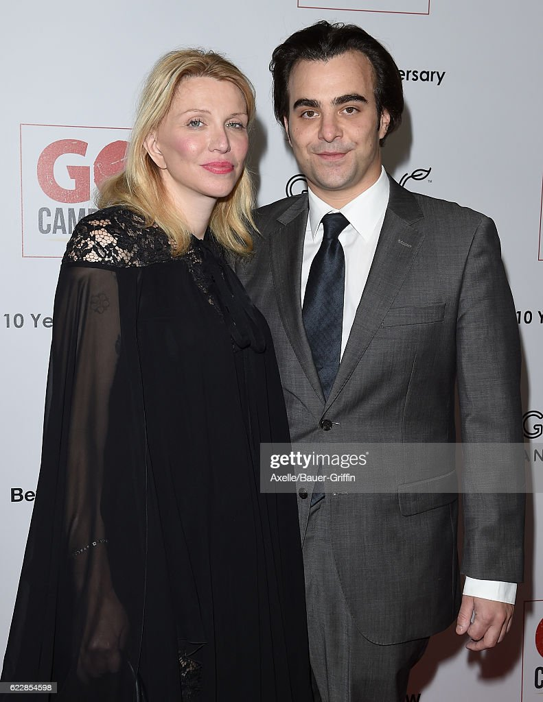 Recording artist Courtney Love (L) and director Nicholas Jarecki arrive at the 10th Annual GO Campaign Gala at Manuela on November 5, 2016 in Los Angeles, California.