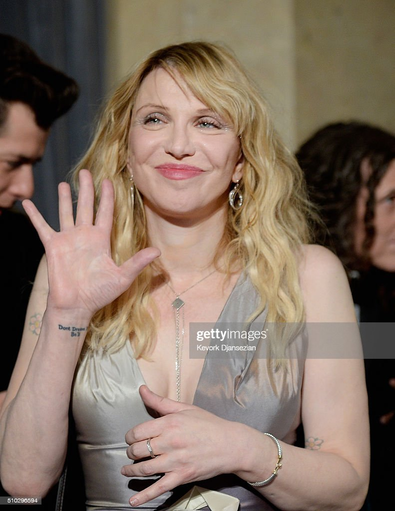 Recording artist Courtney Love attends the 2016 Pre-GRAMMY Gala and Salute to Industry Icons honoring Irving Azoff at The Beverly Hilton Hotel on February 14, 2016 in Beverly Hills, California.