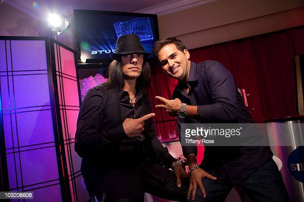 ANGELES CA AUGUST 02 Recording artist Criss Angel and host Oliver Trevena visit Young Hollywood Studio on August 2 2010 in Los Angeles California