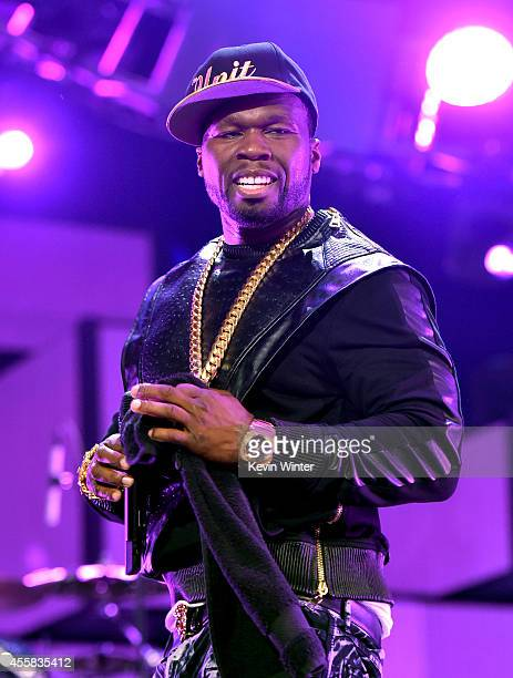 Recording artist Curtis '50 Cent' Jackson of the music group G-Unit performs onstage during the 2014 iHeartRadio Music Festival at the MGM Grand...