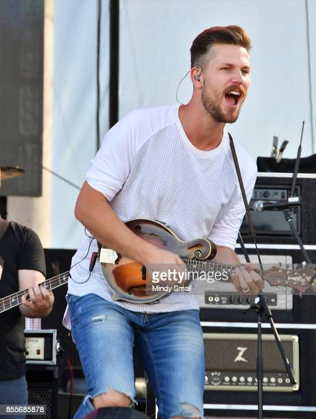 Recording artist Curtis Rempel of High Valley performs during the Route 91 Harvest country music festival at the Las Vegas Village on September 29...