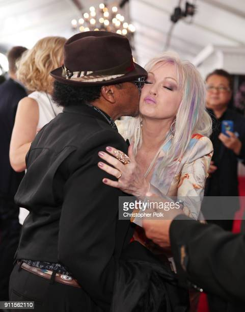 Recording artist Cyndi Lauper and a guest attend the 60th Annual GRAMMY Awards at Madison Square Garden on January 28 2018 in New York City