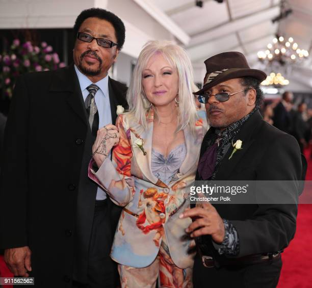 Recording artist Cyndi Lauper and memebers of Robert Crays' Hi Rythm Band attend the 60th Annual GRAMMY Awards at Madison Square Garden on January 28...