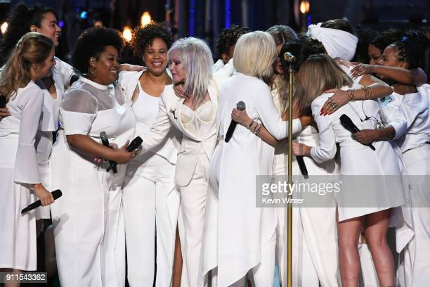 Recording artist Cyndi Lauper performs with Bebe Rexha Kesha Camila Cabello Andra Day and chorus members onstage during the 60th Annual GRAMMY Awards...