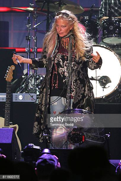 Recording artist Dale Bozzio of music group Missing Persons performs on stage during the iHeart80s Party 2016 at The Forum on February 20 2016 in...