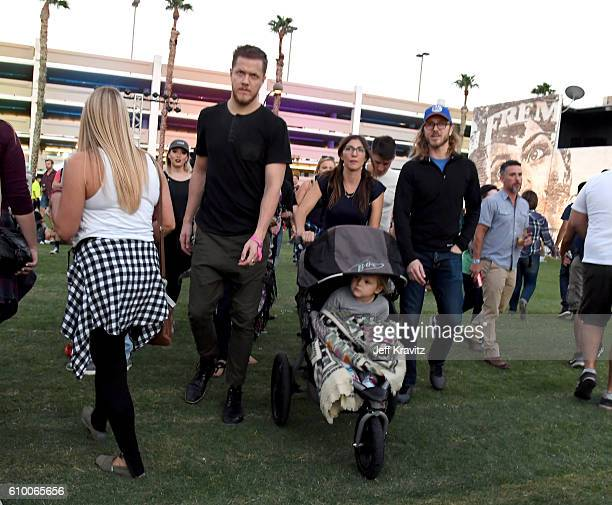 Recording artist Dan Reynolds of Imagine Dragons and musician Aja Volkman are seen during day 1 of the 2016 Life Is Beautiful festival on September...