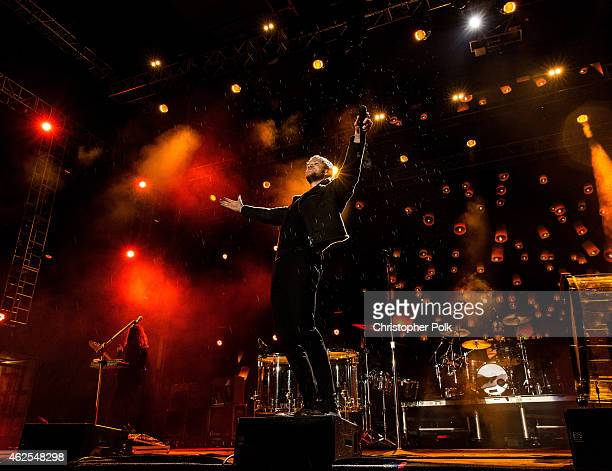 Recording artist Dan Reynolds of music group Imagine Dragons performs onstage during Day 3 of the DirecTV Super Fan Festival at Pendergast Family...