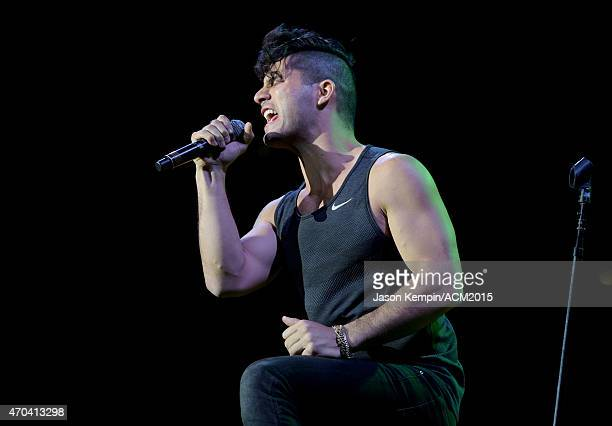 Recording artist Dan Smyers of music group Dan Shay performs onstage during the 50th Academy of Country Music Awards All Star Jam at ATT Stadium on...