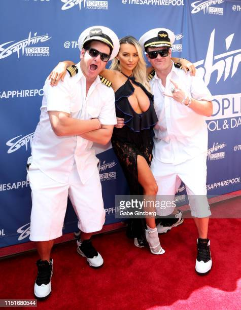 Recording artist Danny Boy of HardNox model/actress Lindsey Pelas and recording artist Jimbo of HardNox attend a pool party hosted by Pelas at the...