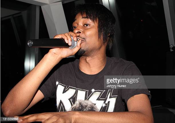 Recording artist Danny Brown performs for the Fader Magazine the NOTORIOUS BIG Icon Issue celebration at Rivington Penthouse on April 26 2011 in New...
