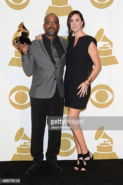 Recording artist Darius Rucker and Beth Leonard pose in the press room during the 56th GRAMMY Awards at Staples Center on January 26 2014 in Los...