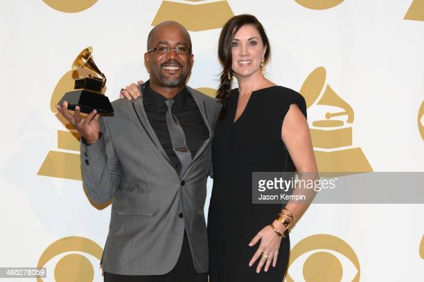 Recording artist Darius Rucker and Beth Leonard poses in the press room during the 56th GRAMMY Awards at Staples Center on January 26 2014 in Los...