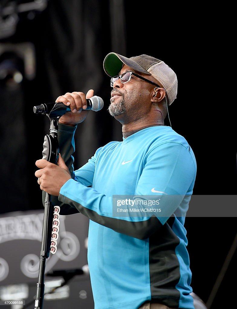 Recording artist Darius Rucker rehearses onstage during ACM Presents: Superstar Duets at Globe Life Park in Arlington on April 17, 2015 in Arlington, Texas.