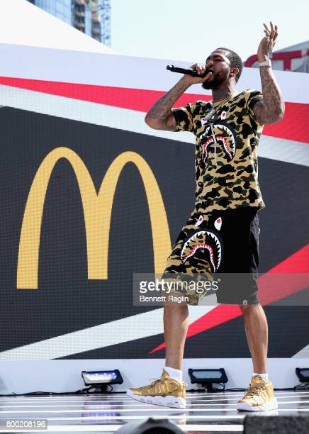 Recording artist Dave East performs onstage at day two of 2017 BETX Live sponsored by McDonald's at Gilbert Lindsey Plaza on June 23 2017 in Los...