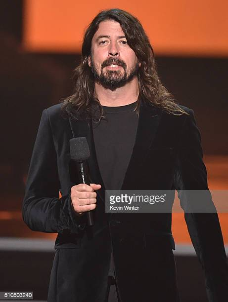 Recording artist Dave Grohl of music group Foo Fighters speaks onstage during The 58th GRAMMY Awards at Staples Center on February 15, 2016 in Los...