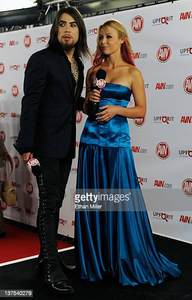 Recording artist Dave Navarro and adult film actress Kayden Kross host the red carpet at the 29th annual Adult Video News Awards Show at the Hard...
