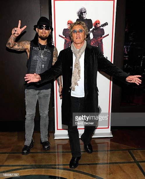 Recording artist Dave Navarro and singer Roger Daltrey of The Who arrive at the MGM Grand Hotel/Casino for the Rock 'n' Roll Fantasy Camp on January...