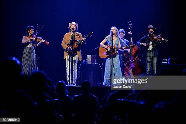 Recording artist Dave Rawlings and singer/songwriter Gillian Welch of The Dave Rawlings Machine perform at Ryman Auditorium on December 29 2015 in...