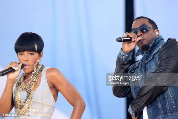 """Recording artist Dawn Richard and Diddy perform on ABC's """"Good Morning America"""" at Rumsey Playfield, Central Park on June 4, 2010 in New York City."""