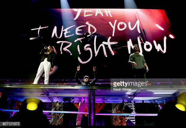 Recording artist Daya DJ's Alex Pall and Andrew Taggart of The Chainsmokers perform onstage at WiLD 949's FM's Jingle Ball 2016 presented by Capital...