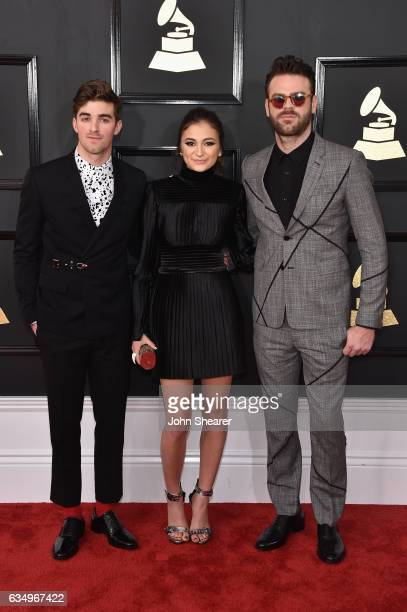 Recording artist Daya poses with recording artists Andrew Taggart and Alex Pall of music group The Chainsmokers during The 59th GRAMMY Awards at...
