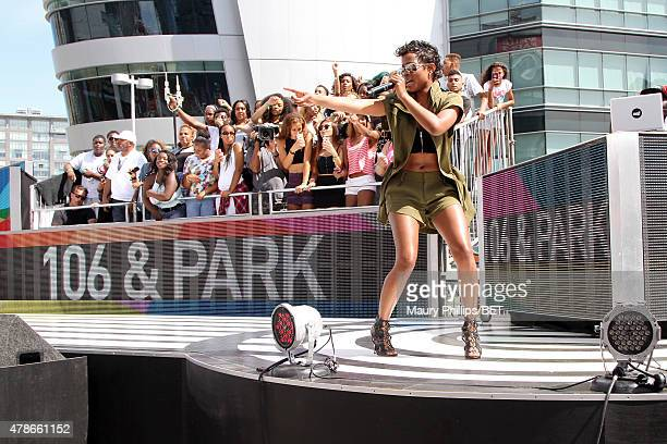 Recording artist DeJ Loaf performs onstage during 106 & Park with ESPN cross promotion Sports Center during the 2015 BET Experience at Nokia Plaza on...
