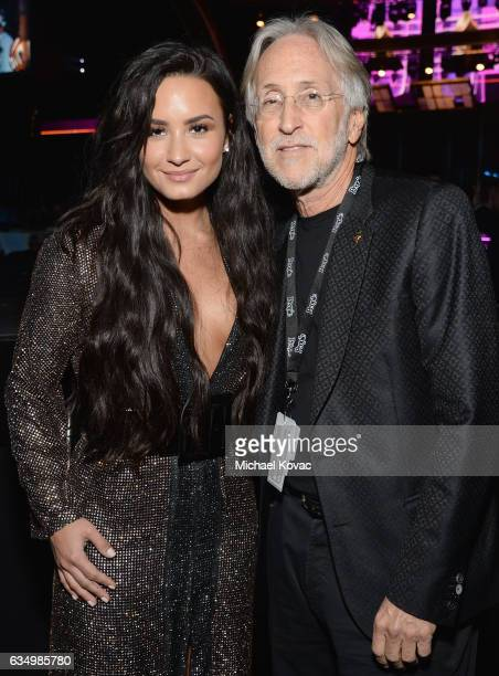 Recording artist Demi Lovato and President/CEO of The Recording Academy and GRAMMY Foundation President/CEO Neil Portnow attend The 59th GRAMMY...