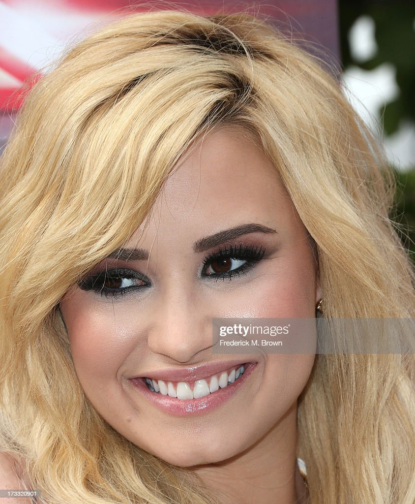Recording artist Demi Lovato attends Fox's 'The X Factor' Judges at the Galen Center on July 11, 2013 in Los Angeles, California.