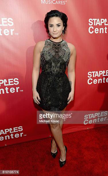 Recording artist Demi Lovato attends the 2016 MusiCares Person of the Year honoring Lionel Richie at the Los Angeles Convention Center on February...