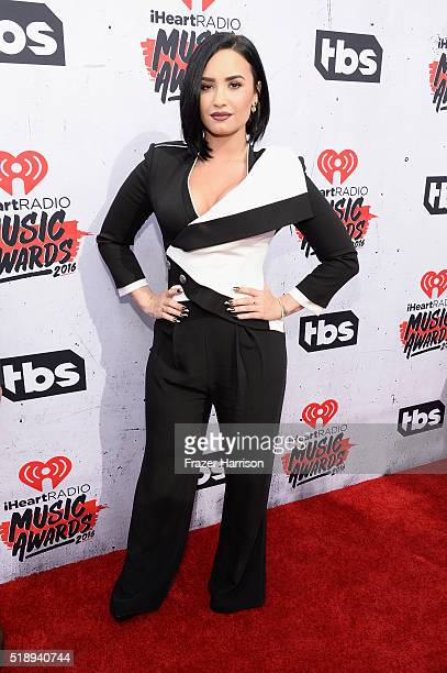Recording artist Demi Lovato attends the iHeartRadio Music Awards at The Forum on April 3 2016 in Inglewood California