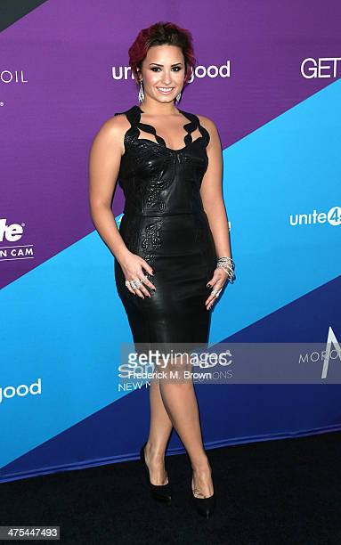 Recording artist Demi Lovato attends united4 good and Variety Magazine Present united4humanity at Sony Pictures Studios on February 27 2014 in Culver...