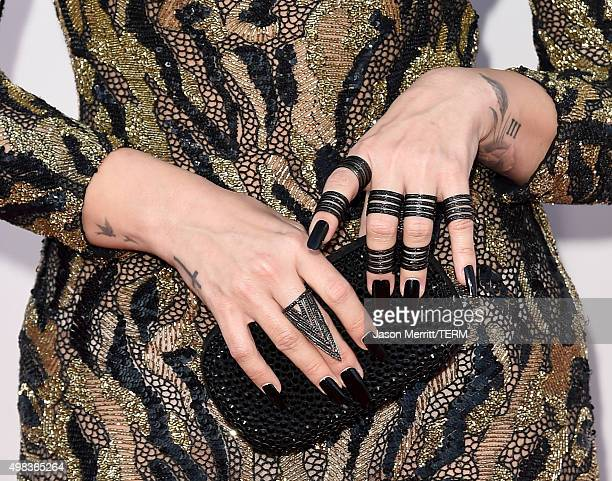 Recording artist Demi Lovato fashion detail attends the 2015 American Music Awards at Microsoft Theater on November 22 2015 in Los Angeles California