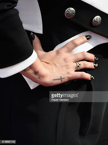 Recording artist Demi Lovato jewelry and tattoo detail backstage at the iHeartRadio Music Awards which broadcasted live on TBS TNT AND TRUTV from The...