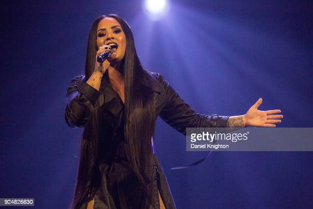 Recording artist Demi Lovato performs on stage during her 'Tell Me You Love Me' World Tour Opener at Viejas Arena on February 26 2018 in San Diego...