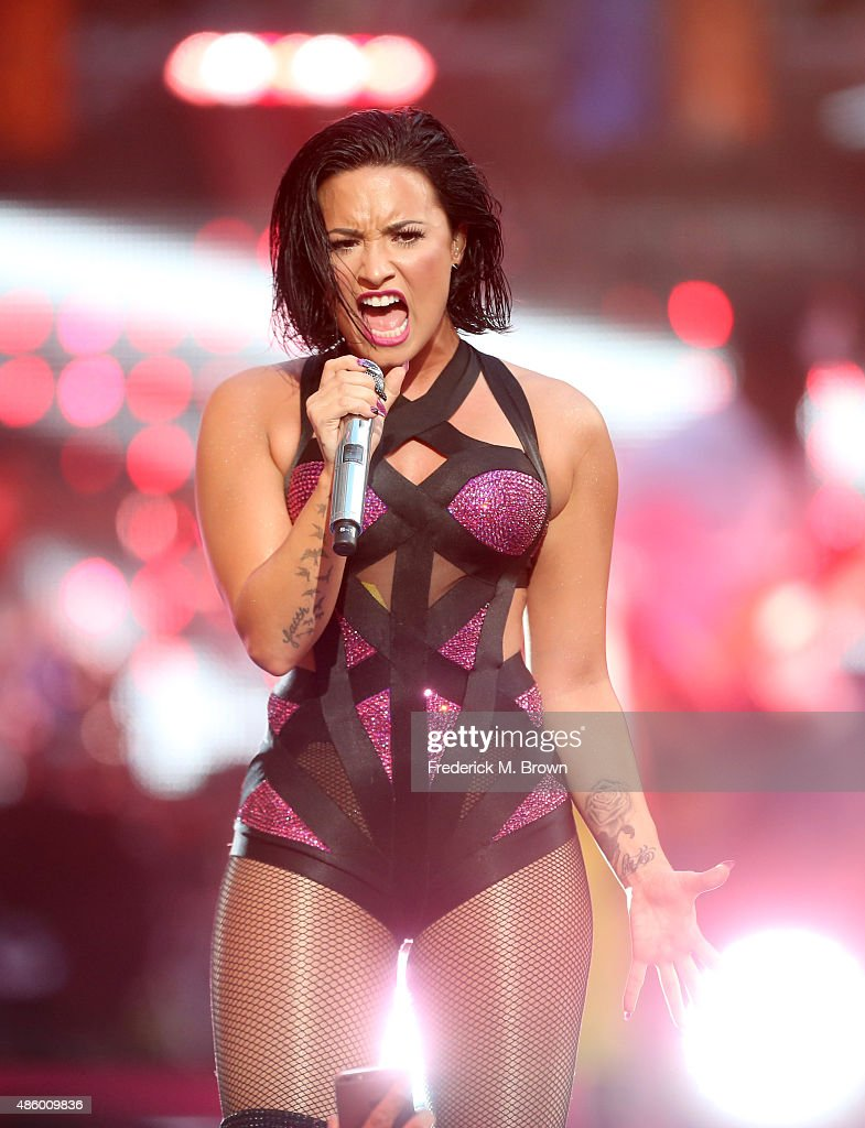 Recording artist Demi Lovato performs on the Pepsi Stage, during the 2015 MTV Video Music Awards, at The Orpheum Theatre on August 30, 2015 in Los Angeles, California.