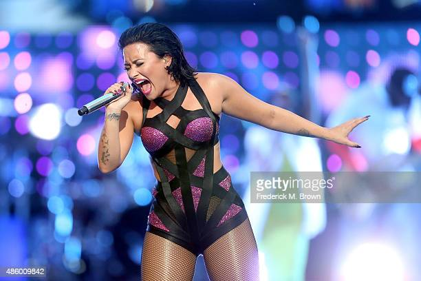 Recording artist Demi Lovato performs on the Pepsi Stage during the 2015 MTV Video Music Awards at The Orpheum Theatre on August 30 2015 in Los...