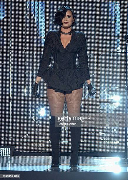 Recording artist Demi Lovato performs onstage during the 2015 American Music Awards at Microsoft Theater on November 22 2015 in Los Angeles California