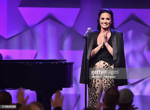 Recording artist Demi Lovato performs onstage during the 27th Annual GLAAD Media Awards at the Beverly Hilton Hotel on April 2 2016 in Beverly Hills...